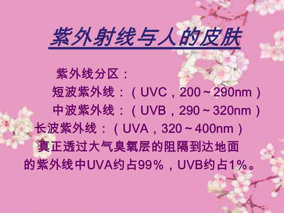 紫外射线与人的皮肤 紫外线分区: 短波紫外线:( UVC , 200 ~ 290nm ) 中波紫外线:( UVB , 290 ~ 320nm ) 长波紫外线:( UVA , 320 ~ 400nm ) 真正透过大气臭氧层的阻隔到达地面 的紫外线中 UVA 约占 99 %, UVB 约占 1 %。