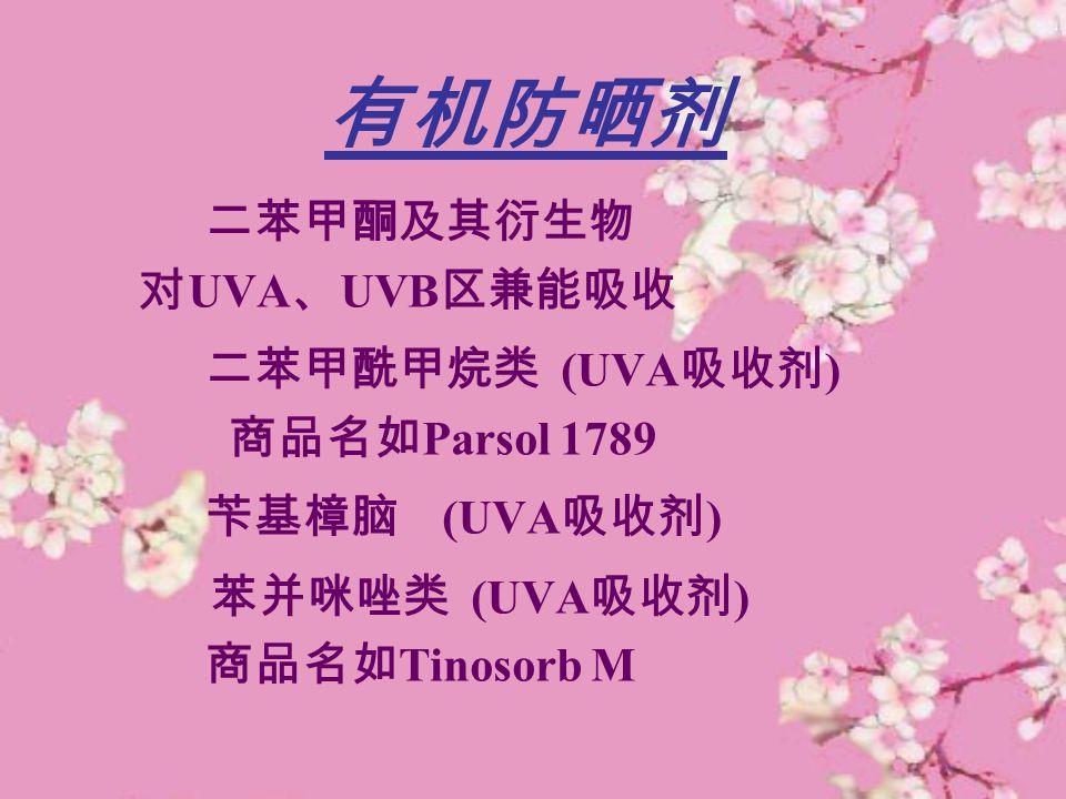 有机防晒剂 二苯甲酮及其衍生物 对 UVA 、 UVB 区兼能吸收 二苯甲酰甲烷类 (UVA 吸收剂 ) 商品名如 Parsol 1789 苄基樟脑 (UVA 吸收剂 ) 苯并咪唑类 (UVA 吸收剂 ) 商品名如 Tinosorb M