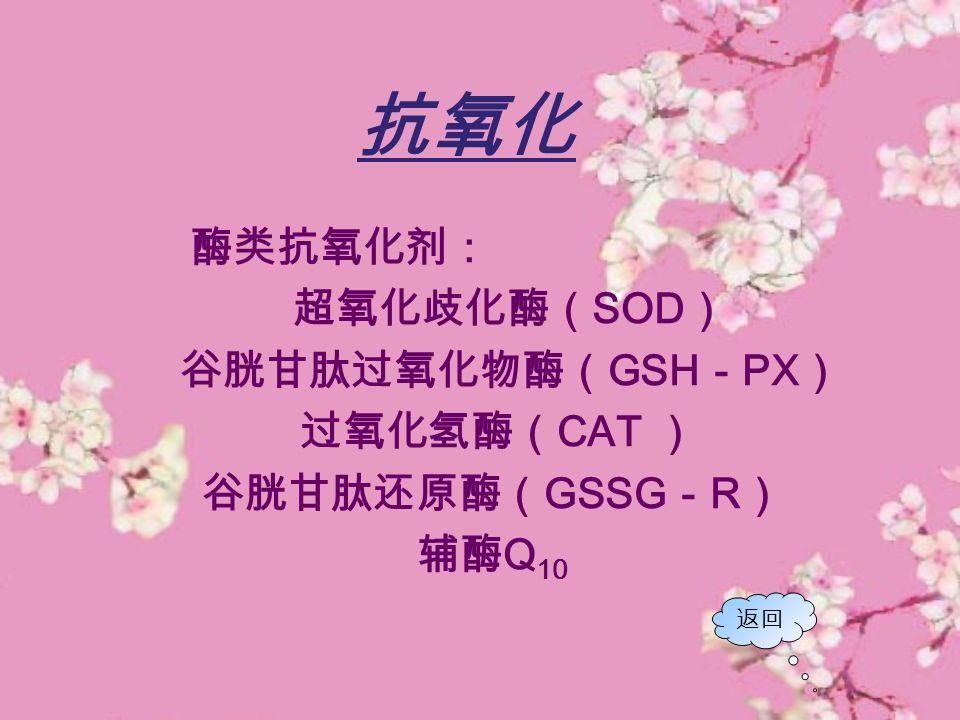 抗氧化 酶类抗氧化剂: 超氧化歧化酶( SOD ) 谷胱甘肽过氧化物酶( GSH - PX ) 过氧化氢酶( CAT ) 谷胱甘肽还原酶( GSSG - R ) 辅酶 Q 10 返回