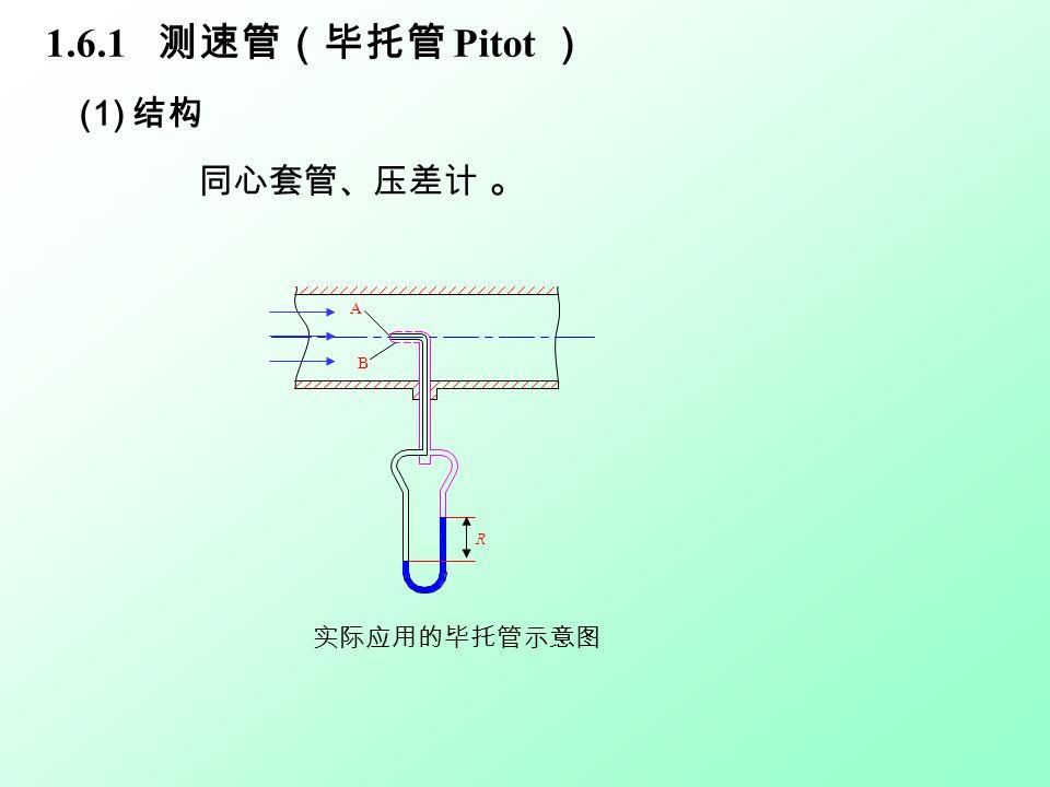 (2) 测量原理 未放测速管时,截面各点均为静压能。 放入测速管后, 外管:开口平行于流向 p B —— 静压能; 内管:开口垂直于流向 p A —— 滞点压力。 滞点压力 ( 冲压能 ) = 静压能 + 动能 A B R 毕托管构造原理示意图