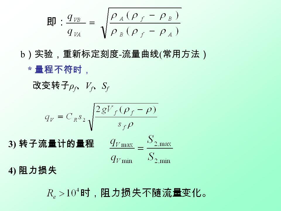 b )实验,重新标定刻度 - 流量曲线 ( 常用方法) * 量程不符时, 改变转子 ρ f 、 V f 、 S f 3) 转子流量计的量程 4) 阻力损失