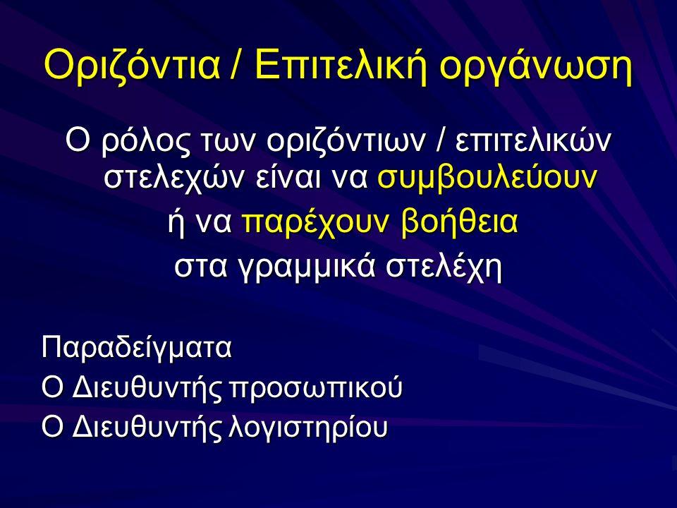 Οριζόντια / Επιτελική οργάνωση Αναφέρεται στα στελέχη που η οργανωτική τους θέση και λειτουργία δεν συνεισφέρουν κατευθείαν στην επίτευξη των στόχων του οργανισμού