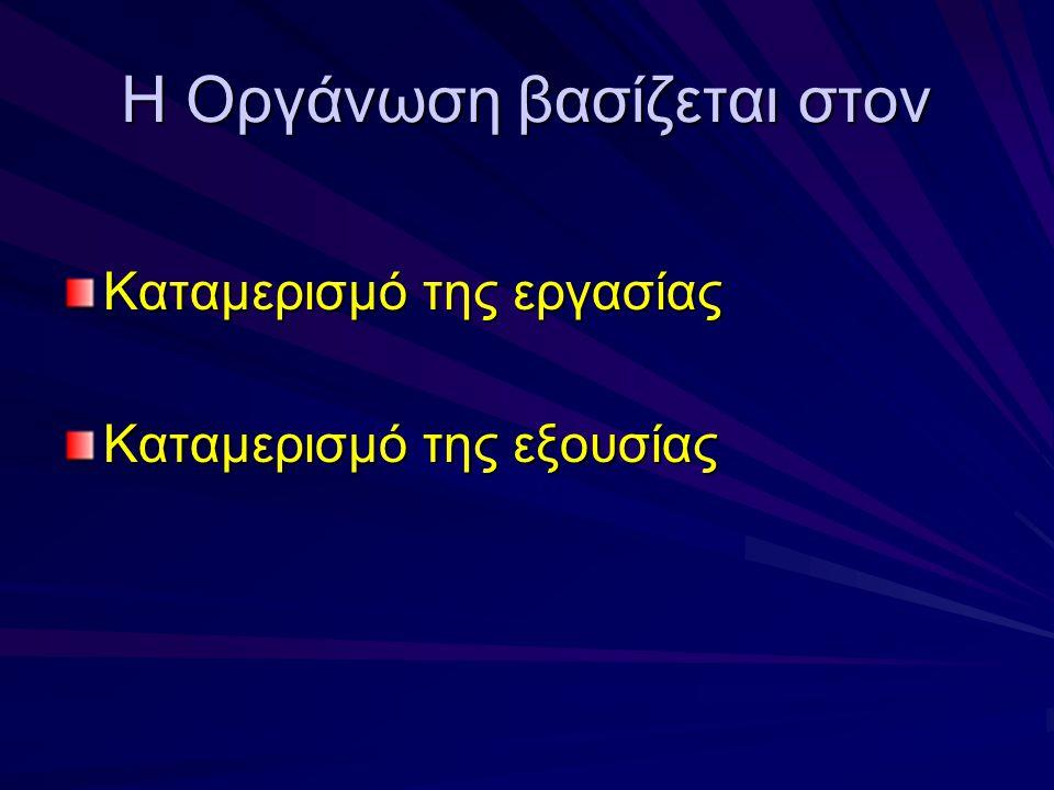 Στόχοι της Οργάνωσης Επιμερίζει το τι πρέπει να γίνει σε θέσεις εργασίας και τμήματα Ταξινομεί τις θέσεις εργασίας σε ενότητες Καθορίζει σχέσεις μεταξύ ατόμων, ομάδων, και τμημάτων Καθορίζει τυπικές γραμμές εξουσίας Κατανέμει και αναπτύσσει οργανωτικούς πόρους