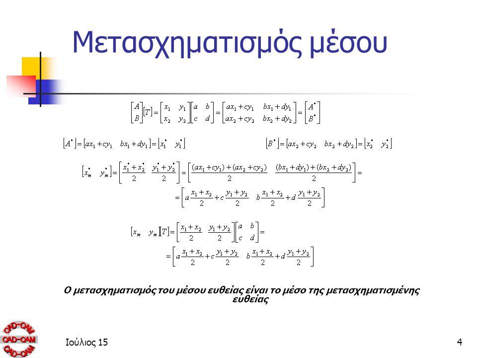 Ιούλιος 154 Μετασχηματισμός μέσου Ο μετασχηματισμός του μέσου ευθείας είναι το μέσο της μετασχηματισμένης ευθείας