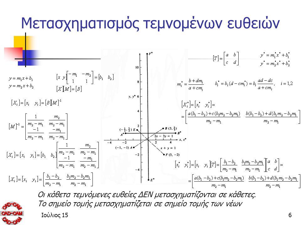 Ιούλιος 156 Μετασχηματισμός τεμνομένων ευθειών Οι κάθετα τεμνόμενες ευθείες ΔΕΝ μετασχηματίζονται σε κάθετες.