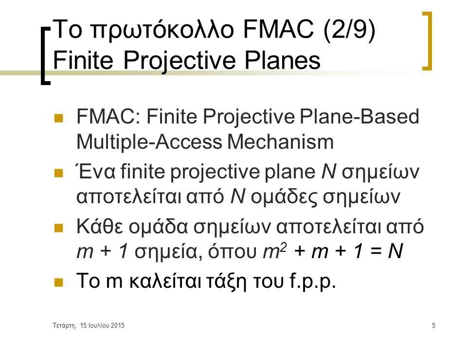 Τετάρτη, 15 Ιουλίου 20156 Το πρωτόκολλο FMAC (3/9) Finite Projective Planes Δύο οποιεσδήποτε ομάδες ενός finite projective plane έχουν ακριβώς ένα κοινό σημείο Παράδειγμα f.p.p.