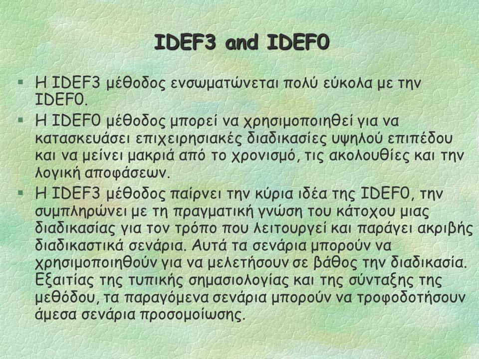 The IDEF3 process description capture method Process Schematics (cont.) §Το IDEF3 υποστηρίζει την αποσύνθεση ενός UOB σε οποιοδήποτε επίπεδο λεπτομέρειας με διάφορους τρόπους, ώστε να αντιμετωπίσει την πολυπλοκότητα.
