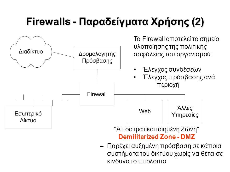 Firewalls - Παραδείγματα Χρήσης (2) Αποστρατικοποιημένη Ζώνη Demilitarized Zone - DMZ –Παρέχει αυξημένη πρόσβαση σε κάποια συστήματα του δικτύου χωρίς να θέτει σε κίνδυνο το υπόλοιπο Το Firewall αποτελεί το σημείο υλοποίησης της πολιτικής ασφάλειας του οργανισμού: Έλεγχος συνδέσεων Έλεγχος πρόσβασης ανά περιοχή