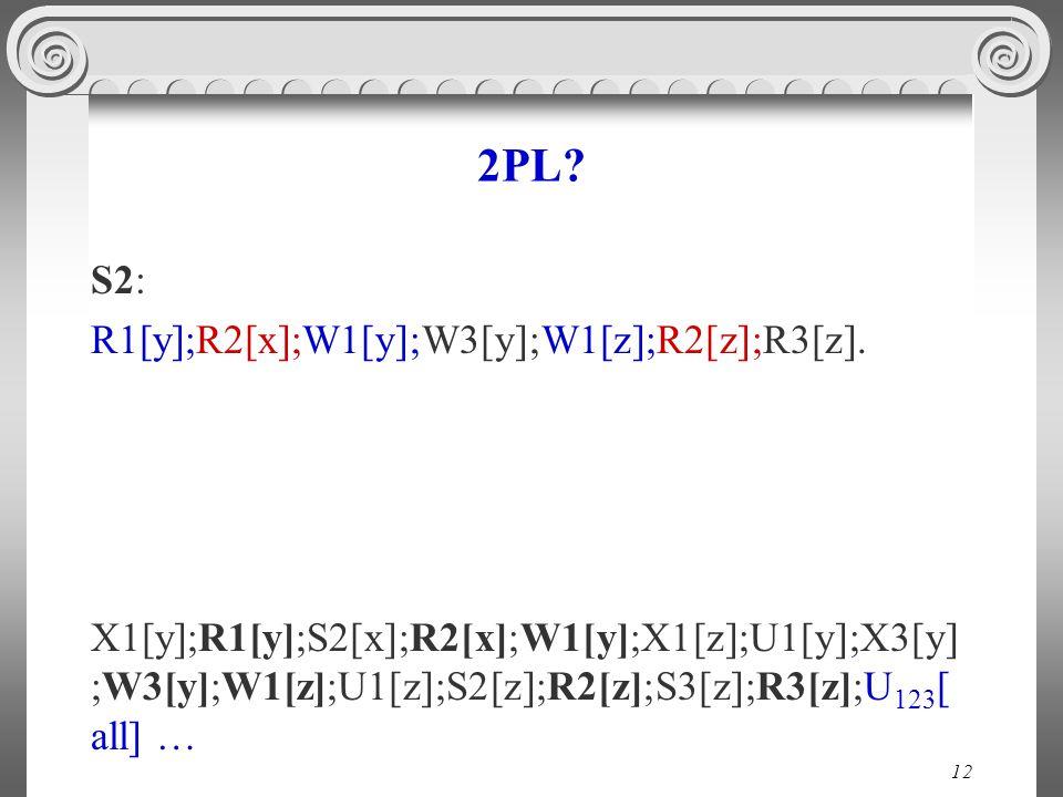 12 2PL. S2: R1[y];R2[x];W1[y];W3[y];W1[z];R2[z];R3[z].