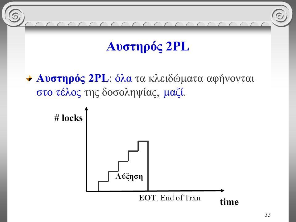 15 Αυστηρός 2PL Αυστηρός 2PL: όλα τα κλειδώματα αφήνονται στο τέλος της δοσοληψίας, μαζί.