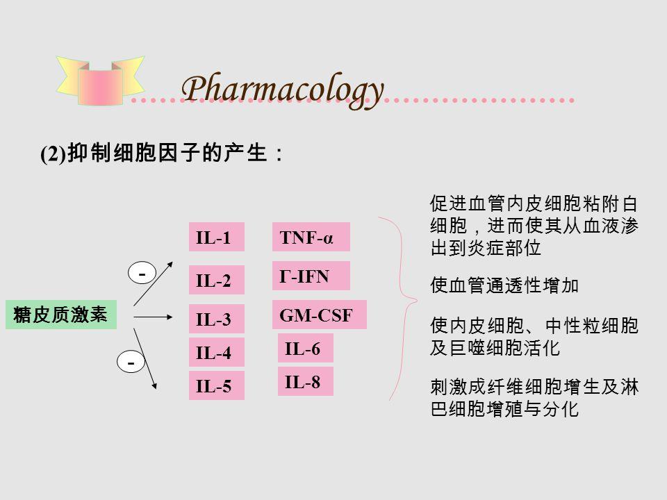 Pharmacology (2) 抑制细胞因子的产生: IL-1 IL-2 IL-3 IL-4 IL-6 IL-5 IL-8 TNF-α Γ-IFN GM-CSF 促进血管内皮细胞粘附白 细胞,进而使其从血液渗 出到炎症部位 使内皮细胞、中性粒细胞 及巨噬细胞活化 刺激成纤维细胞增生及淋 巴细胞增殖