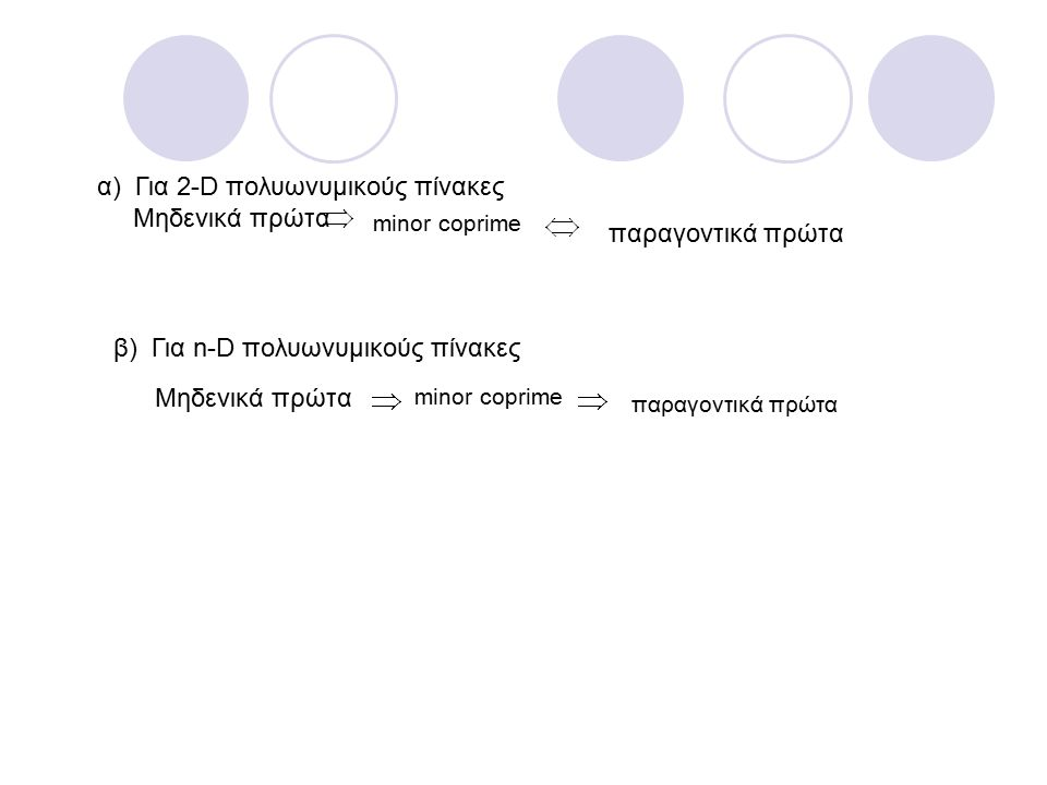 α) Για 2-D πολυωνυμικούς πίνακες Μηδενικά πρώτα minor coprime παραγοντικά πρώτα β) Για n-D πολυωνυμικούς πίνακες Μηδενικά πρώτα
