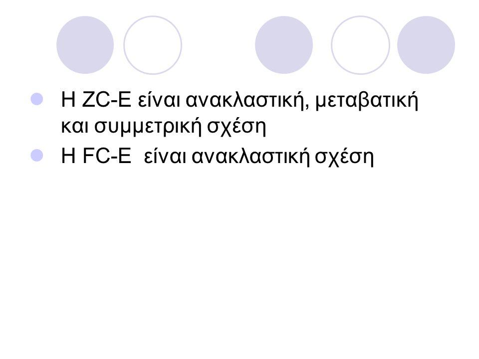 Η ZC-E είναι ανακλαστική, μεταβατική και συμμετρική σχέση Η FC-E είναι ανακλαστική σχέση