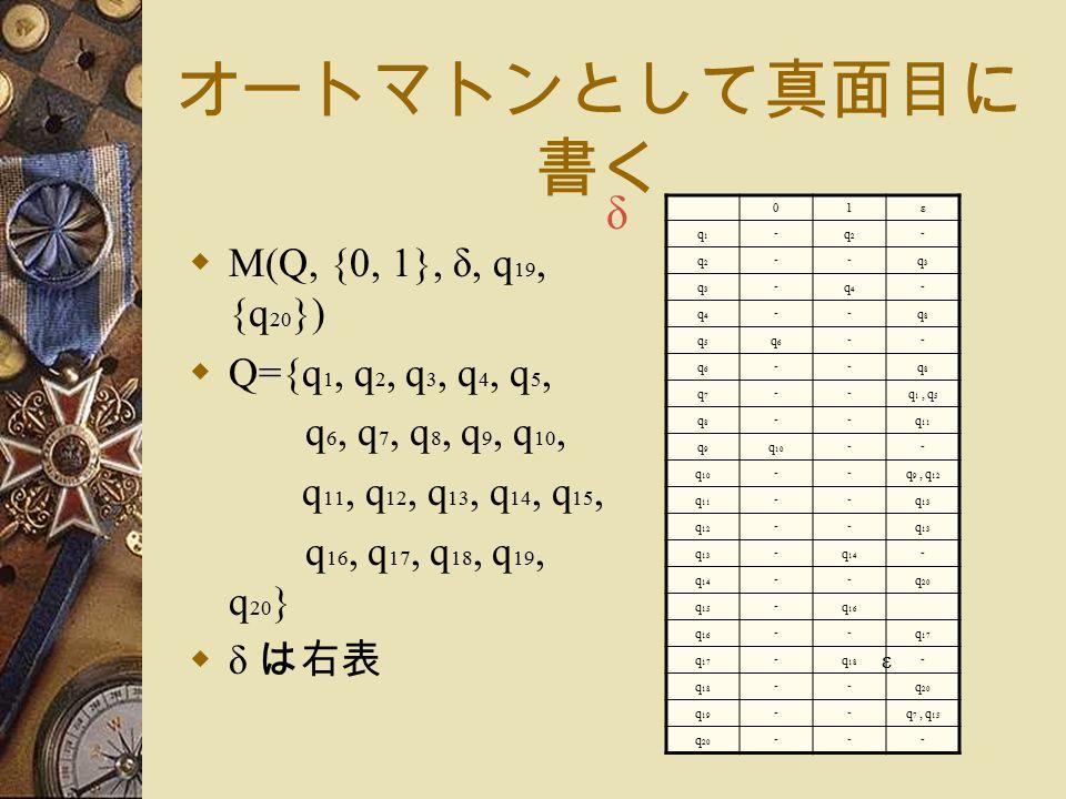 オートマトンとして真面目に 書く  M(Q, {0, 1}, δ, q 19, {q 20 })  Q={q 1, q 2, q 3, q 4, q 5, q 6, q 7, q 8, q 9, q 10, q 11, q 12, q 13, q 14, q 15, q 16, q 17, q 18, q 19, q 20 }  δ は右表 01ε q1q1 - q2q2 - q2q2 -- q3q3 q3q3 - q4q4 - q4q4 -- q8q8 q5q5 q6q6 -- q6q6 -- q8q8 q7q7 -- q 1, q 5 q8q8 -- q 11 q9q9 q 10 -- -- q 9, q 12 q 11 -- q 13 q 12 -- q 13 - q 14 - -- q 20 q 15 - q 16 -- q 17 - q 18 - -- q 20 q 19 -- q 7, q 15 q 20 --- ε δ