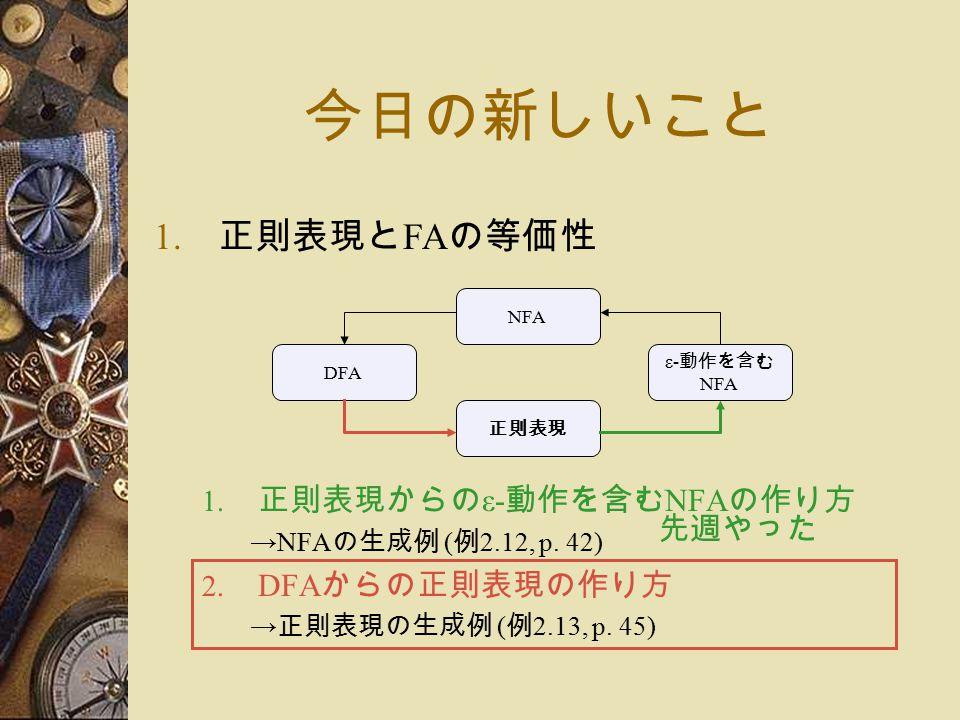 今日の新しいこと 1. 正則表現と FA の等価性 1. 正則表現からの ε- 動作を含む NFA の作り方 →NFA の生成例 ( 例 2.12, p.