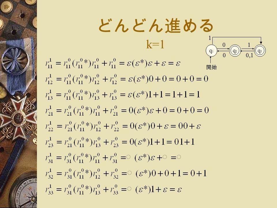 どんどん進める k=1 q1q1 q2q2 0 開始 q3q3 1 1 0,10