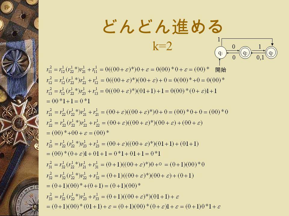 どんどん進める k=2 q1q1 q2q2 0 開始 q3q3 1 1 0,10