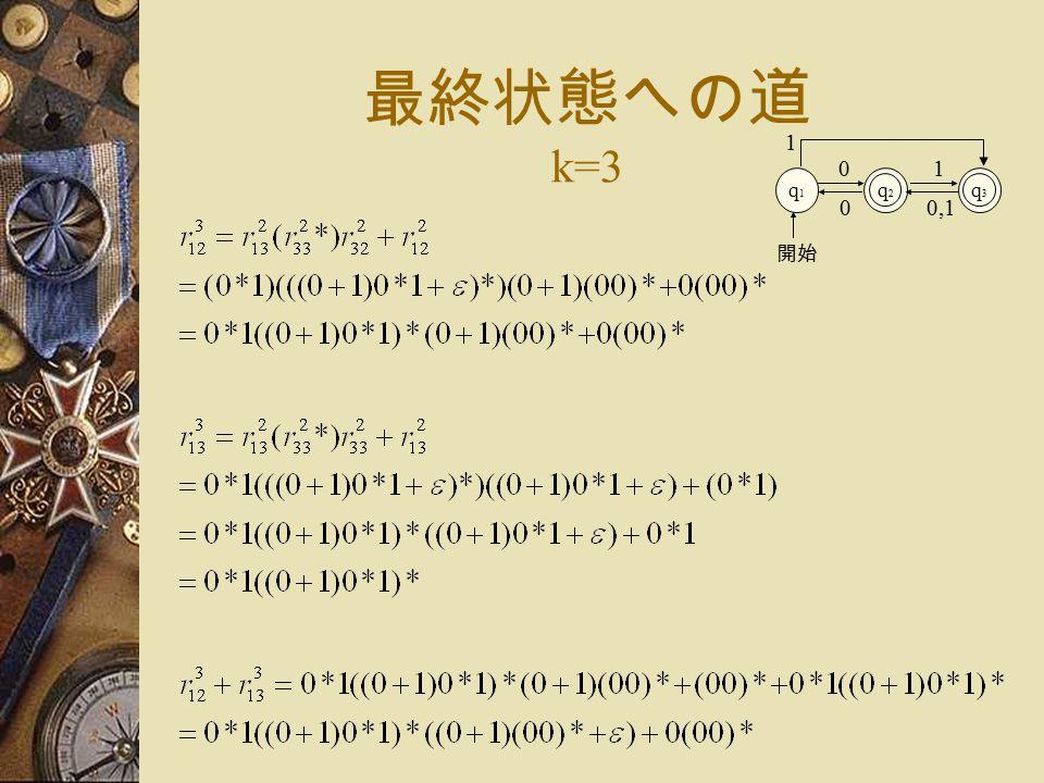 最終状態への道 k=3 q1q1 q2q2 0 開始 q3q3 1 1 0,10