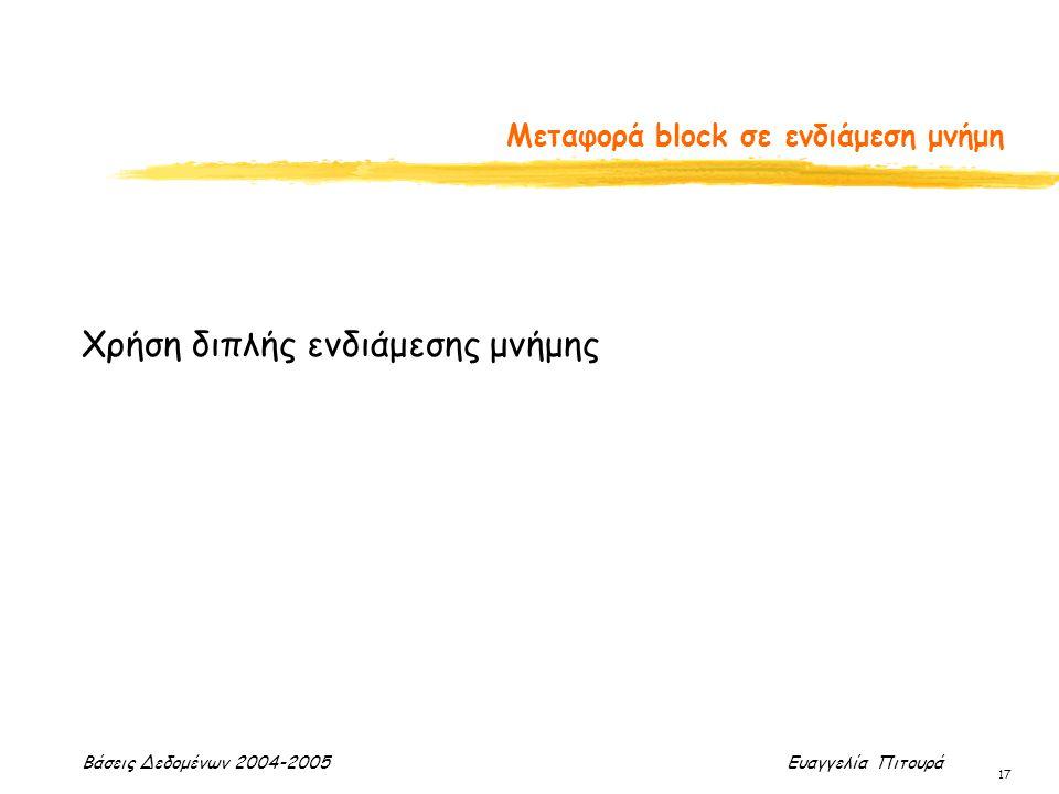 Βάσεις Δεδομένων 2004-2005 Ευαγγελία Πιτουρά 17 Μεταφορά block σε ενδιάμεση μνήμη Χρήση διπλής ενδιάμεσης μνήμης