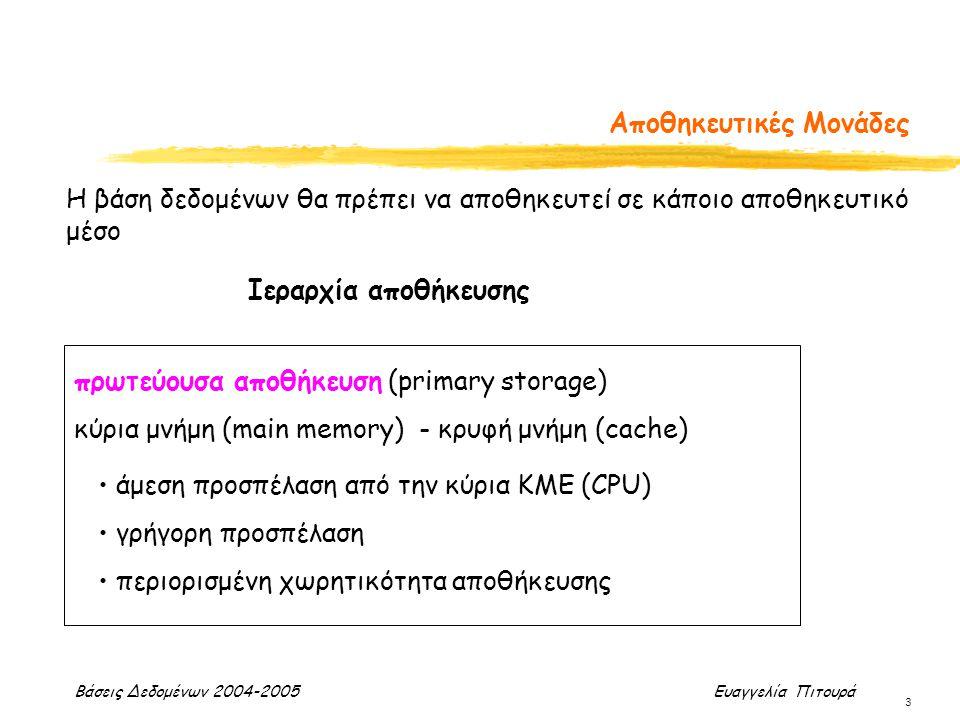 Βάσεις Δεδομένων 2004-2005 Ευαγγελία Πιτουρά 3 Αποθηκευτικές Μονάδες Η βάση δεδομένων θα πρέπει να αποθηκευτεί σε κάποιο αποθηκευτικό μέσο Ιεραρχία αποθήκευσης πρωτεύουσα αποθήκευση (primary storage) κύρια μνήμη (main memory) - κρυφή μνήμη (cache) άμεση προσπέλαση από την κύρια ΚΜΕ (CPU) γρήγορη προσπέλαση περιορισμένη χωρητικότητα αποθήκευσης