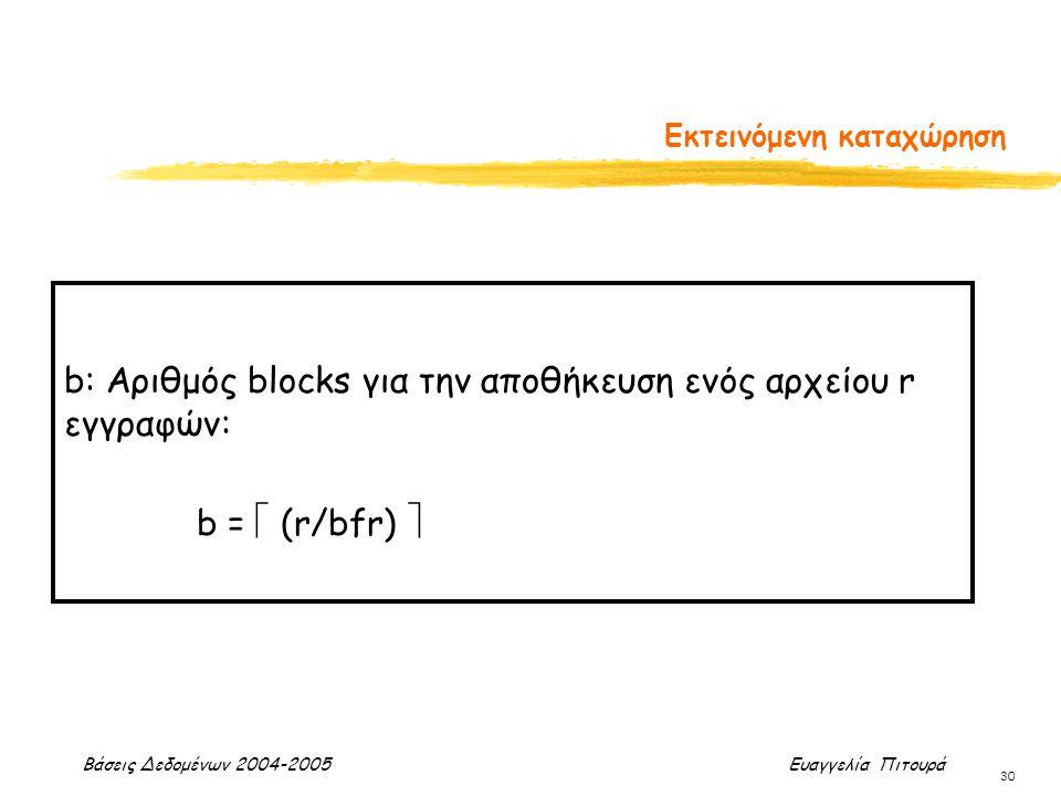 Βάσεις Δεδομένων 2004-2005 Ευαγγελία Πιτουρά 30 Εκτεινόμενη καταχώρηση b: Αριθμός blocks για την αποθήκευση ενός αρχείου r εγγραφών: b =  (r/bfr) 