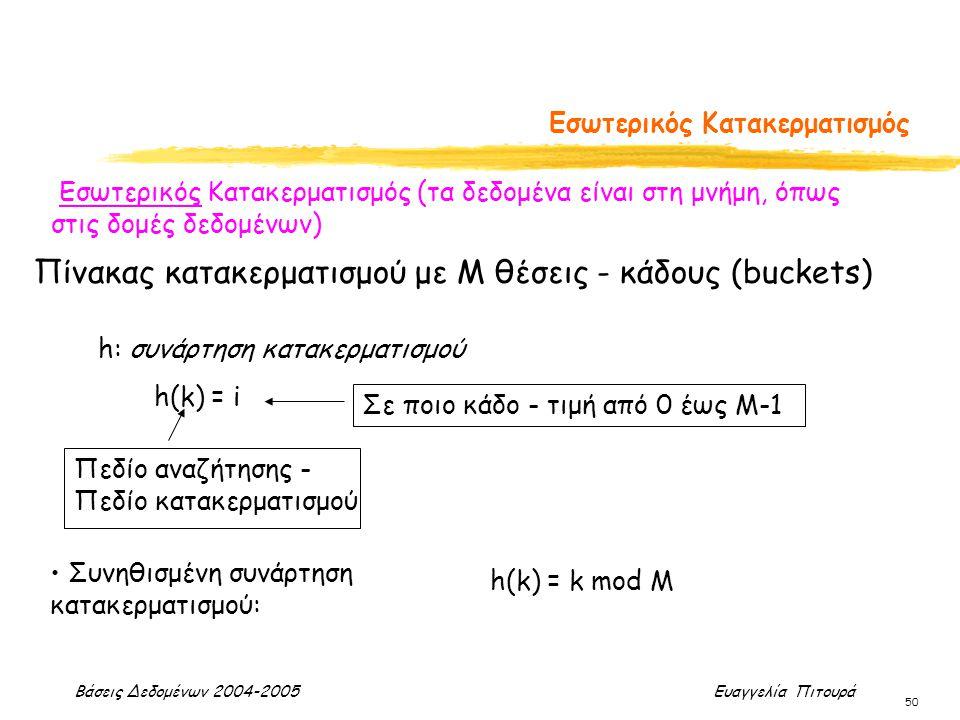 Βάσεις Δεδομένων 2004-2005 Ευαγγελία Πιτουρά 50 Εσωτερικός Κατακερματισμός Εσωτερικός Κατακερματισμός (τα δεδομένα είναι στη μνήμη, όπως στις δομές δεδομένων) h: συνάρτηση κατακερματισμού h(k) = i Πεδίο αναζήτησης - Πεδίο κατακερματισμού Σε ποιο κάδο - τιμή από 0 έως Μ-1 Πίνακας κατακερματισμού με Μ θέσεις - κάδους (buckets) Συνηθισμένη συνάρτηση κατακερματισμού: h(k) = k mod M