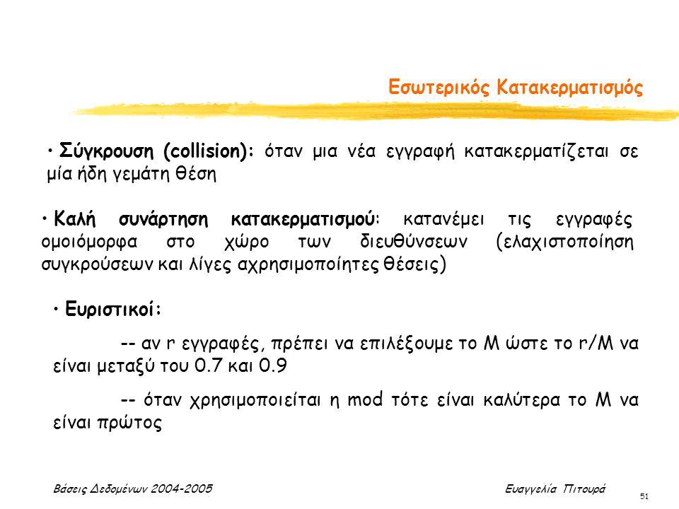 Βάσεις Δεδομένων 2004-2005 Ευαγγελία Πιτουρά 51 Εσωτερικός Κατακερματισμός Καλή συνάρτηση κατακερματισμού: κατανέμει τις εγγραφές ομοιόμορφα στο χώρο των διευθύνσεων (ελαχιστοποίηση συγκρούσεων και λίγες αχρησιμοποίητες θέσεις) Σύγκρουση (collision): όταν μια νέα εγγραφή κατακερματίζεται σε μία ήδη γεμάτη θέση Ευριστικοί: -- αν r εγγραφές, πρέπει να επιλέξουμε το Μ ώστε το r/M να είναι μεταξύ του 0.7 και 0.9 -- όταν χρησιμοποιείται η mod τότε είναι καλύτερα το Μ να είναι πρώτος