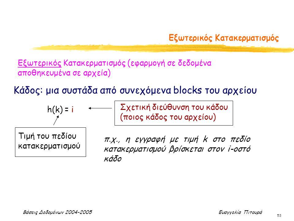 Βάσεις Δεδομένων 2004-2005 Ευαγγελία Πιτουρά 53 Εξωτερικός Κατακερματισμός Εξωτερικός Κατακερματισμός (εφαρμογή σε δεδομένα αποθηκευμένα σε αρχεία) h(k) = i Τιμή του πεδίου κατακερματισμού Σχετική διεύθυνση του κάδου (ποιος κάδος του αρχείου) Κάδος: μια συστάδα από συνεχόμενα blocks του αρχείου π.χ., η εγγραφή με τιμή k στο πεδίο κατακερματισμού βρίσκεται στον i-οστό κάδο