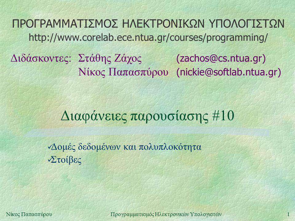 ΠΡΟΓΡΑΜΜΑΤΙΣΜΟΣ ΗΛΕΚΤΡΟΝΙΚΩΝ ΥΠΟΛΟΓΙΣΤΩΝ Διδάσκοντες:Στάθης Ζάχος (zachos@cs.ntua.gr) Νίκος Παπασπύρου (nickie@softlab.ntua.gr) http://www.corelab.ece.ntua.gr/courses/programming/ 1Νίκος ΠαπασπύρουΠρογραμματισμός Ηλεκτρονικών Υπολογιστών Διαφάνειες παρουσίασης #10 Δομές δεδομένων και πολυπλοκότητα Στοίβες