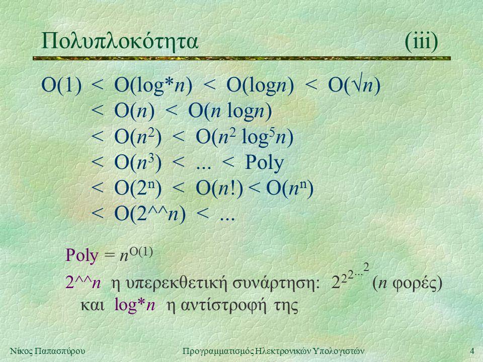 4Νίκος Παπασπύρου Προγραμματισμός Ηλεκτρονικών Υπολογιστών Πολυπλοκότητα(iii) Ο(1)< Ο(log*n) < O(logn) < O(  n) < O(n) < O(n logn) < O(n 2 ) < O(n 2 log 5 n) < O(n 3 ) <...