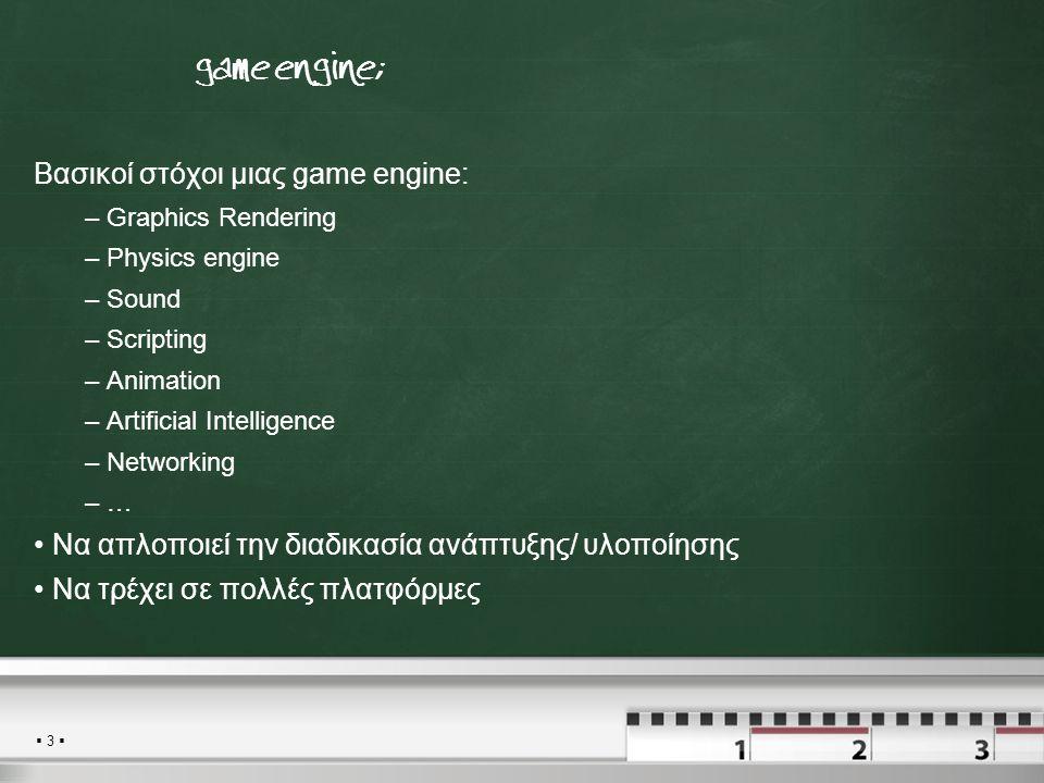  3  Τι είναι μια game engine; Βασικοί στόχοι μιας game engine: – Graphics Rendering – Physics engine – Sound – Scripting – Animation – Artificial Intelligence – Networking – … Να απλοποιεί την διαδικασία ανάπτυξης/ υλοποίησης Να τρέχει σε πολλές πλατφόρμες
