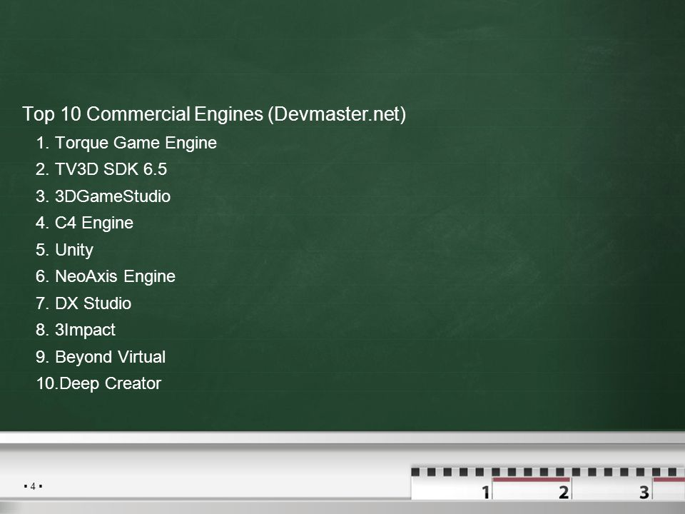  4  Top 10 Commercial Engines (Devmaster.net) 1.