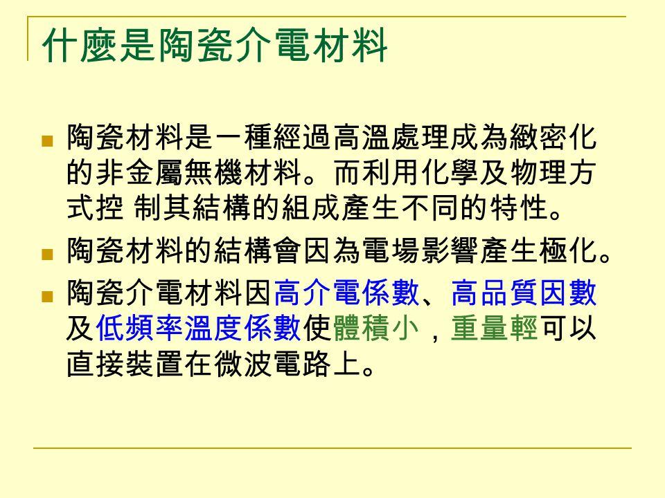 判別方法 介電係數( ε γ ): 越高越好,介電係數 ↑ ,共振尺吋 ↓ ,一般以 30 為 佳。 品質因數( Q ): 共振器內電磁能之儲存與散失的比值, Q↑ 表示電 磁能儲存越大。 ( tanδ=1/Q , tanδ 為介電損耗,∴ Q↑ , tanδ↓ ) 頻率溫度係數( τ γ ): 為一頻率隨溫度變化而改變之係數。 τ γ ↓ 則頻率 漂移量越低,且可穩定共振頻率( ±20ppm/ ℃ )