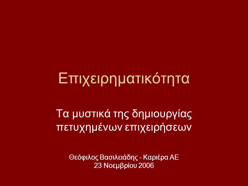 Επιχειρηματικότητα Τα μυστικά της δημιουργίας πετυχημένων επιχειρήσεων Θεόφιλος Βασιλειάδης - Καριέρα ΑΕ 23 Νοεμβρίου 2006