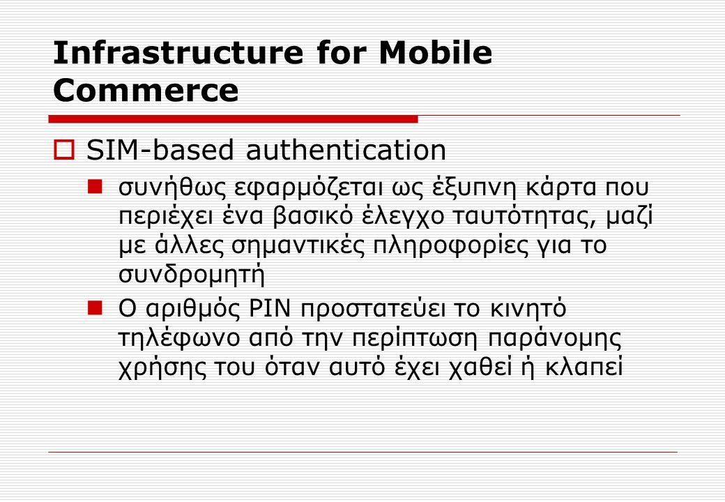 Infrastructure for Mobile Commerce  SIM-based authentication συνήθως εφαρμόζεται ως έξυπνη κάρτα που περιέχει ένα βασικό έλεγχο ταυτότητας, μαζί με άλλες σημαντικές πληροφορίες για το συνδρομητή Ο αριθμός PIN προστατεύει το κινητό τηλέφωνο από την περίπτωση παράνομης χρήσης του όταν αυτό έχει χαθεί ή κλαπεί