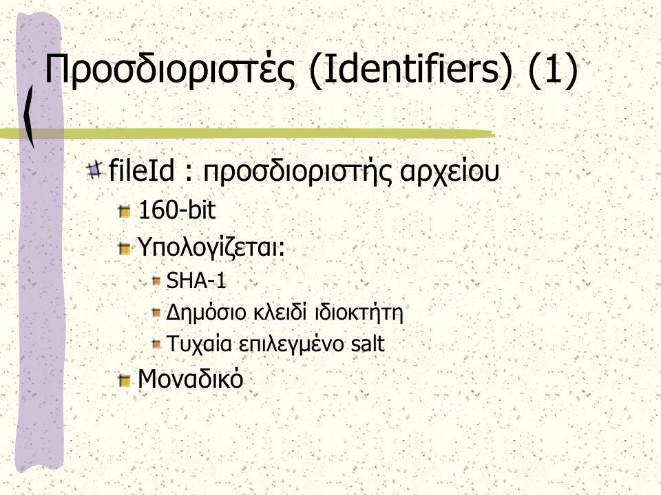 Προσδιοριστές (Identifiers) (1) fileId : προσδιοριστής αρχείου 160-bit Υπολογίζεται: SHA-1 Δημόσιο κλειδί ιδιοκτήτη Τυχαία επιλεγμένο salt Μοναδικό