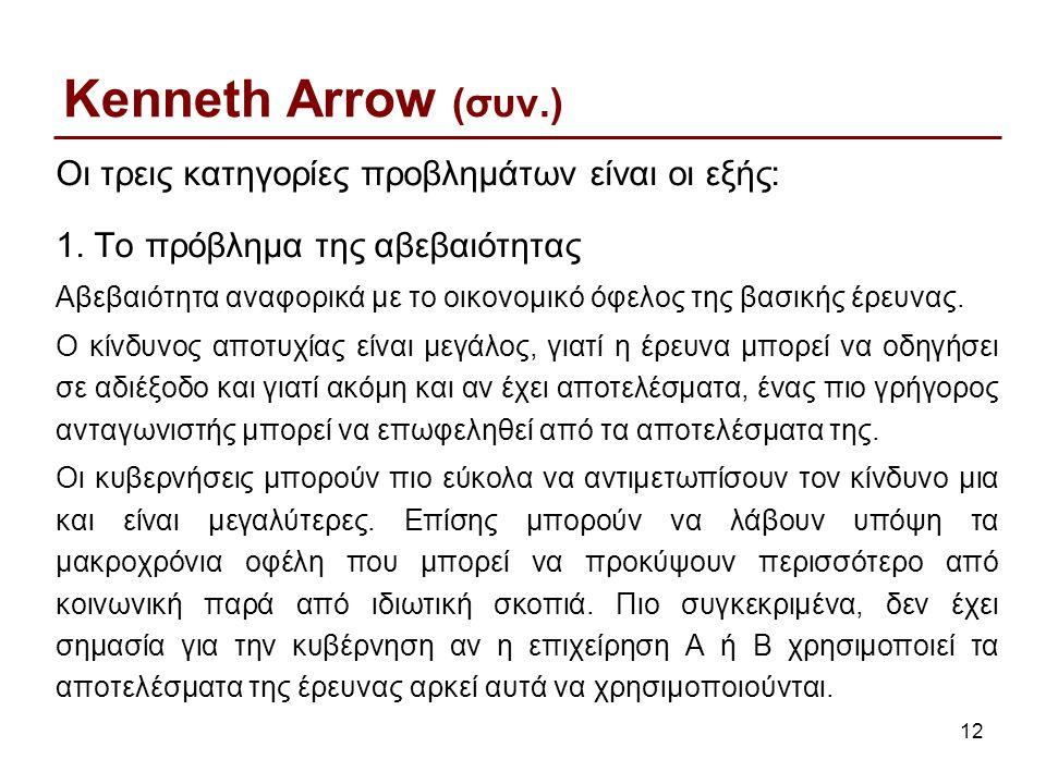 12 Kenneth Arrow (συν.) Οι τρεις κατηγορίες προβλημάτων είναι οι εξής: 1.