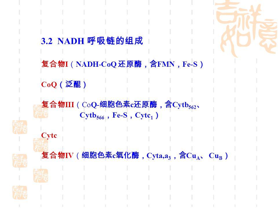 3.2 NADH 呼吸链的组成 复合物 I ( NADH-CoQ 还原酶,含 FMN , Fe-S ) CoQ (泛醌) 复合物 III ( CoQ- 细胞色素 c 还原酶,含 Cytb 562 、 Cytb 566 , Fe-S , Cytc 1 ) Cytc 复合物 IV (细胞色素 c 氧化酶