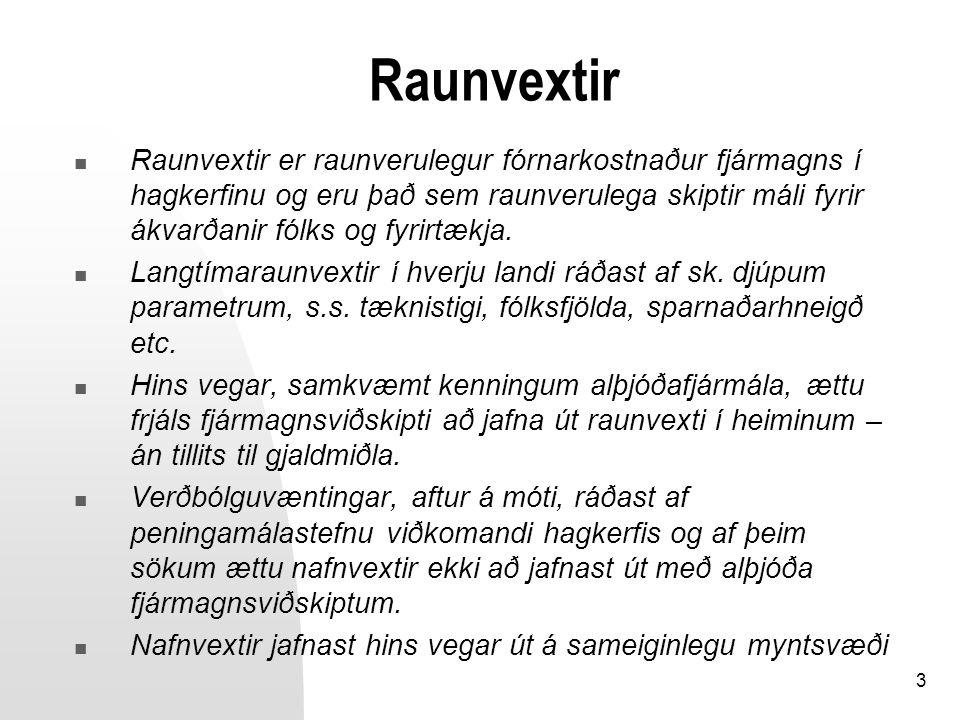 3 Raunvextir Raunvextir er raunverulegur fórnarkostnaður fjármagns í hagkerfinu og eru það sem raunverulega skiptir máli fyrir ákvarðanir fólks og fyr