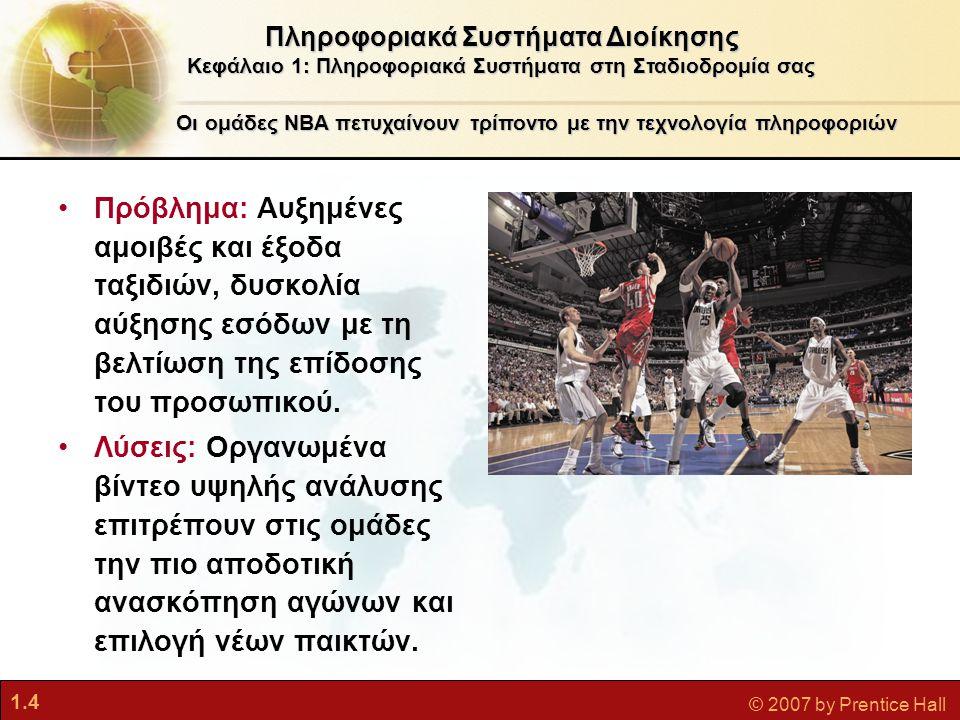 1.4 © 2007 by Prentice Hall Πληροφοριακά Συστήματα Διοίκησης Κεφάλαιο 1: Πληροφοριακά Συστήματα στη Σταδιοδρομία σας Οι ομάδες NBA πετυχαίνουν τρίποντ