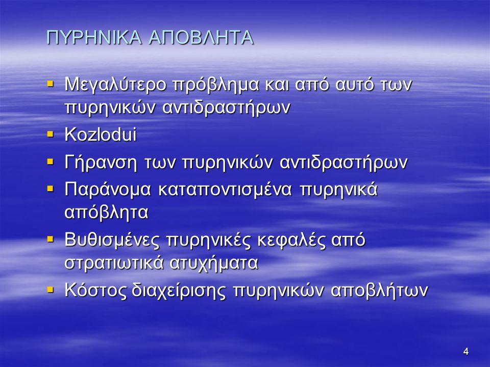 4 ΠΥΡΗΝΙΚΑ ΑΠΟΒΛΗΤΑ  Μεγαλύτερο πρόβλημα και από αυτό των πυρηνικών αντιδραστήρων  Kozlodui  Γήρανση των πυρηνικών αντιδραστήρων  Παράνομα καταποντισμένα πυρηνικά απόβλητα  Βυθισμένες πυρηνικές κεφαλές από στρατιωτικά ατυχήματα  Κόστος διαχείρισης πυρηνικών αποβλήτων