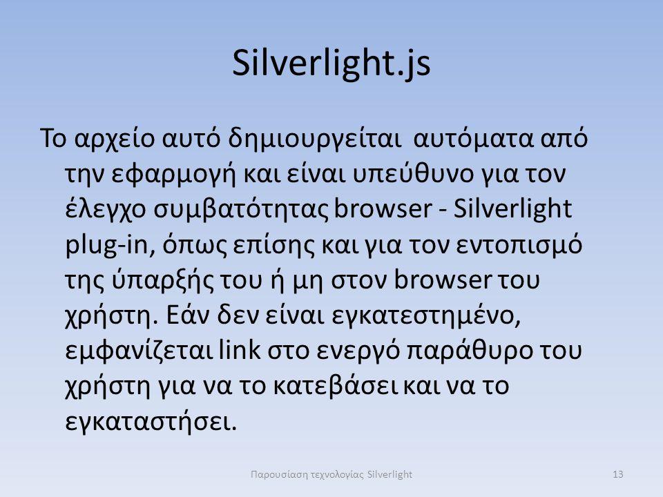Silverlight.js Το αρχείο αυτό δημιουργείται αυτόματα από την εφαρμογή και είναι υπεύθυνο για τον έλεγχο συμβατότητας browser - Silverlight plug-in, όπως επίσης και για τον εντοπισμό της ύπαρξής του ή μη στον browser του χρήστη.