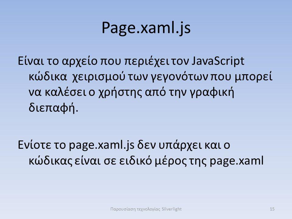 Page.xaml.js Είναι το αρχείο που περιέχει τον JavaScript κώδικα χειρισμού των γεγονότων που μπορεί να καλέσει ο χρήστης από την γραφική διεπαφή.