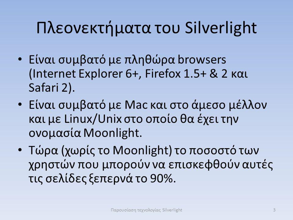 Πλεονεκτήματα του Silverlight Είναι συμβατό με πληθώρα browsers (Internet Explorer 6+, Firefox 1.5+ & 2 και Safari 2). Είναι συμβατό με Mac και στο άμ
