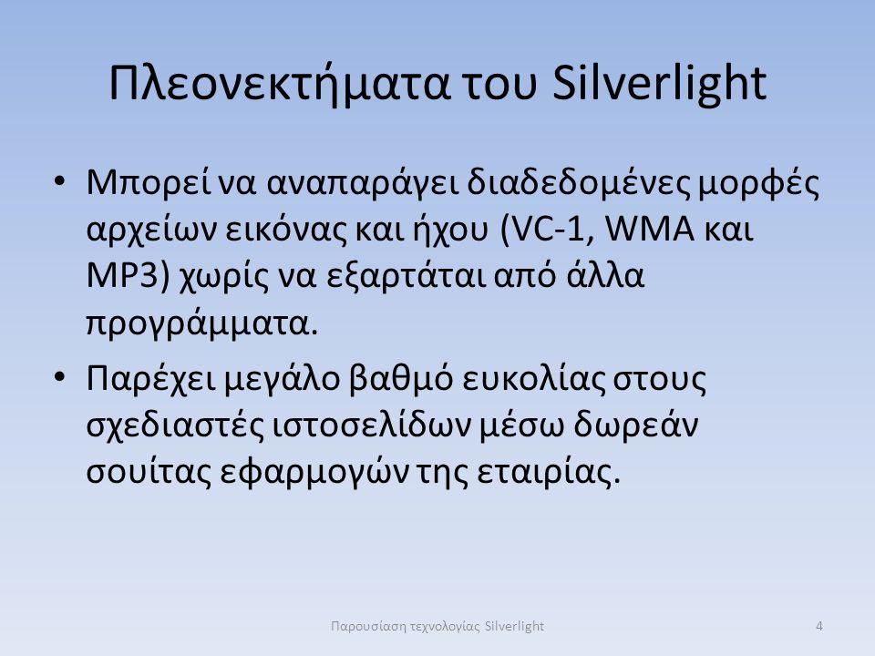 Πλεονεκτήματα του Silverlight Μπορεί να αναπαράγει διαδεδομένες μορφές αρχείων εικόνας και ήχου (VC-1, WMA και MP3) χωρίς να εξαρτάται από άλλα προγρά