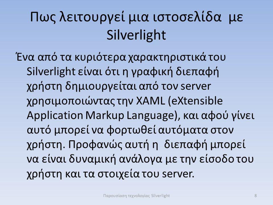 Πως λειτουργεί μια ιστοσελίδα με Silverlight Ένα από τα κυριότερα χαρακτηριστικά του Silverlight είναι ότι η γραφική διεπαφή χρήστη δημιουργείται από τον server χρησιμοποιώντας την XAML (eXtensible Application Markup Language), και αφού γίνει αυτό μπορεί να φορτωθεί αυτόματα στον χρήστη.