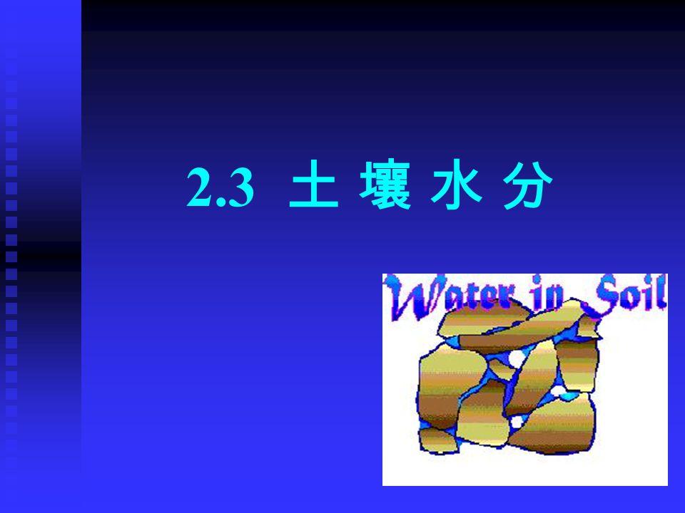 土壤水:是一种稀薄的溶液,存在于 土粒的表面和土粒间的孔隙中。 三种吸引力: 土粒的吸附; 毛管引力; 重力