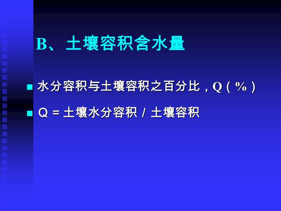 B 、土壤容积含水量 水分容积与土壤容积之百分比, Q ( % ) 水分容积与土壤容积之百分比, Q ( % ) Q=土壤水分容积/土壤容积 Q=土壤水分容积/土壤容积