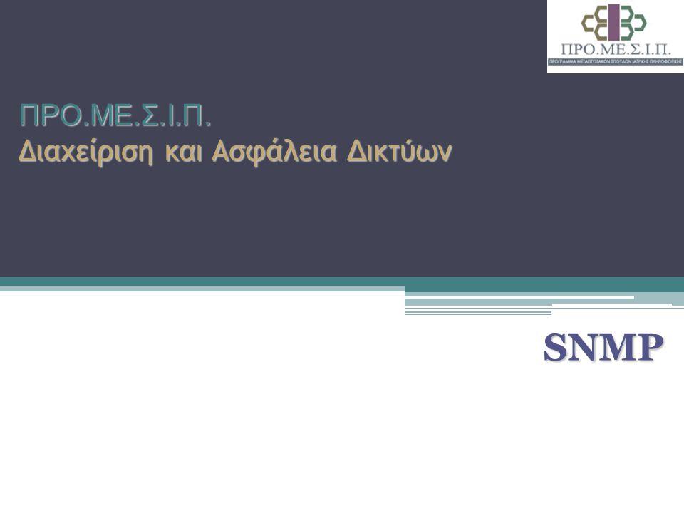 Ακαδημαϊκό Έτος 2010 - 2011 2 Εισαγωγή (1/5) Simple Gateway Monitoring Protocol (SGMP): πρόγονος του SNMP Το SNMP έγινε γρήγορα διαθέσιμο σε μηχανήματα διαφόρων κατασκευαστών και έτυχε ευρείας αποδοχής από την κοινότητα του Διαδικτύου Το 1988 παρουσιάστηκαν οι προδιαγραφές του και καθιερώθηκε ως το κυρίαρχο πρωτόκολλο διαχείρισης δικτύων: ▫RFC1065: SMI Δομή Πληροφοριών Διαχείρισης (Structure of Management Information) ▫RFC1066: MIB Βάση Πληροφοριών Διαχείρισης (Management Information Base) ▫RFC1067: SNMP
