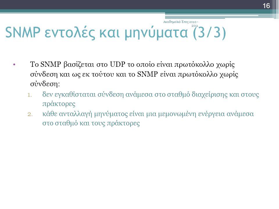 Ακαδημαϊκό Έτος 2010 - 2011 16 Το SNMP βασίζεται στο UDP το οποίο είναι πρωτόκολλο χωρίς σύνδεση και ως εκ τούτου και το SNMP είναι πρωτόκολλο χωρίς σύνδεση: 1.δεν εγκαθίσταται σύνδεση ανάμεσα στο σταθμό διαχείρισης και στους πράκτορες 2.κάθε ανταλλαγή μηνύματος είναι μια μεμονωμένη ενέργεια ανάμεσα στο σταθμό και τους πράκτορες SNMP εντολές και μηνύματα (3/3)